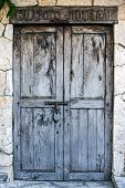 stock photo of hacienda  - Old locked colonial doors of mexican hacienda - JPG