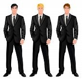 stock photo of professor  - Three young handsome businessmen in formal suits with various hair color tints and haircut styles vector illustration - JPG