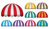 picture of awning  - set of nine strip colorful rounded awnings - JPG