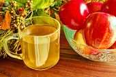 image of cider apples  - Fresh glass of apple cider and bowl of apples with harvest background - JPG