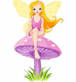 pic of fairy-mushroom  - Cute  fairy elf sitting on mushroom - JPG