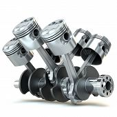 image of piston-rod  - V6 engine pistons - JPG