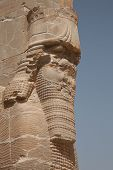 stock photo of xerxes  - the Xerxes gate at the ancient Achaemenid city of Persepolis in Iran - JPG