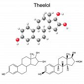 stock photo of hormone  - Structural chemical formulas and model of theelol molecule  - JPG