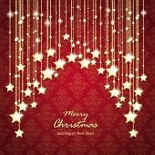image of x-files  - Christmas stars on the red background with ornaments - JPG