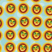 pic of cute animal face  - Lion Seamless pattern with funny cute animal face on a blue background - JPG