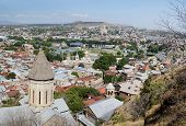 foto of bethlehem  - Old Tbilisi panorama with top of Saint Bethlehem Church on foreground view from Narikala fortress GeorgiaCaucasusCentral Asia - JPG