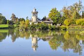 picture of versaille  - The Marlborough Tower reflecting in pond in Marie-Antoinette