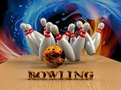 stock photo of striking  - Bowling Game Strike rot 3d abstract image - JPG