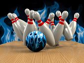 image of indoor games  - Bowling Game Strike rot 3d abstract image - JPG