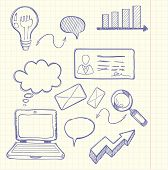 foto of bubble sheet  - Set of doodle business management infographics elements icons background in the box - JPG