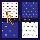 foto of ermine  - Set of 4 simple royal patterns with crowns card suits lilies and Ermine - JPG