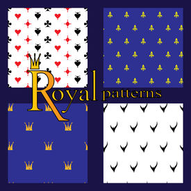 image of ermine  - Set of 4 simple royal patterns with crowns card suits lilies and Ermine - JPG