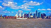 picture of tall ship  - A digitally constructed painting of a tall ship on the river mersey - JPG