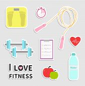 pic of jump rope  - Timer whater dumbbell apple jumping rope scale note heart I love fitness icon set isolated Flat design Vector illustration - JPG