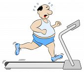 picture of obese man  - vector illustration of a overweight man jogging on a treadmill - JPG