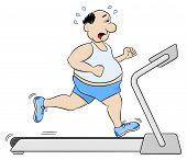 image of treadmill  - vector illustration of a overweight man jogging on a treadmill - JPG
