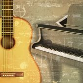 image of grand piano  - abstract green sound grunge background with grand piano and guitar - JPG