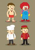 pic of porter  - Life guard or swimming coach clown chef or cook and bellboy or hotel porter in uniform and work attire - JPG
