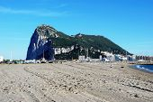 image of gibraltar  - Rock of Gibraltar to the rear seen from La Linea beach in Spain Gibraltar United Kingdom Western Europe - JPG