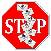 picture of flood  - Concept sign to make aware of unwanted flood of emails in business - JPG