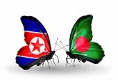 foto of bangladesh  - Two butterflies with flags on wings as symbol of relations North Korea and Bangladesh - JPG