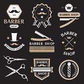 picture of barber  - Barber shop logo labels badges vintage vector set - JPG