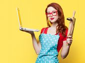 picture of plunger  - Housewife with computer and plunger on yellow background - JPG