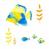 stock photo of angelfish  - Vector angelfishes and surgeonfish in watercolor style - JPG