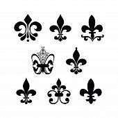 picture of fleur de lis  - set of different fleur de lis symbols - JPG