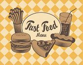 foto of take out pizza  - Vector Cover for fast food menu in retro style - JPG
