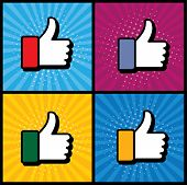 stock photo of confirmation  - pop art thumbs up  - JPG