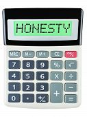 foto of honesty  - Calculator with HONESTY on display isolated on white background - JPG