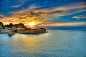 stock photo of sidari  - Sunset over Corfu island - JPG