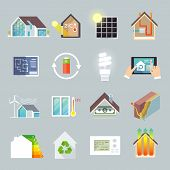 stock photo of environment-friendly  - Energy saving environment friendly green house icons set isolated vector illustration - JPG