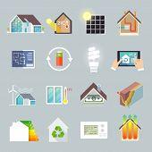 picture of environment-friendly  - Energy saving environment friendly green house icons set isolated vector illustration - JPG