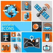 picture of gps navigation  - Navigation auto gps traffic system and travel decorative icons set isolated vector illustration - JPG