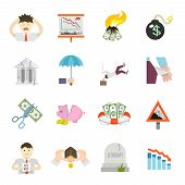 pic of crisis  - Economic crisis finance depression invest recession flat icons set isolated vector illustration - JPG