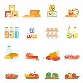 stock photo of milk products  - Supermarket food set with meat steak bakery eggs milk products isolated vector illustration - JPG