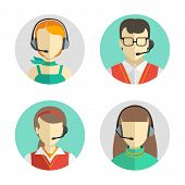 stock photo of avatar  - Vector icons set Male and female call center avatars in a flat style with a headset conceptual of communication - JPG