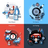 stock photo of spare  - Car repair design concept set with auto spares tuning diagnostics flat elements isolated vector illustration - JPG