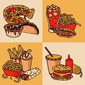 stock photo of food chain  - Fast food chain menu 4 flat icons composition of taco hotdog and hamburger abstract isolated vector illustration - JPG