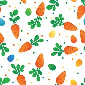 picture of easter eggs bunny  - Eastern Carrot and Eggs Seamless Pattern - JPG