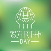 image of save earth  - Vector earth day logo in linear style  - JPG