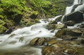 picture of flow  - Mountain fast flowing river Shipot waterfall stream of water in the rocks - JPG