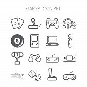 image of video game controller  - Set of simple isolated icons for video games - JPG