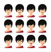 picture of avatar  - Illustration of a female asian avatar expression set - JPG