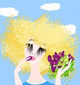 picture of frizzle  - head and hands of blonde woman with grape - JPG