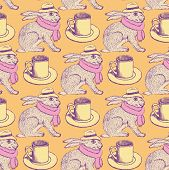stock photo of hare  - Sketch hare and cup in vintage style vector seamless pattern - JPG