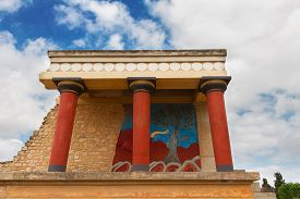picture of minotaur  - detail of ancient ruines of famouse Knossos palace at Crete - JPG